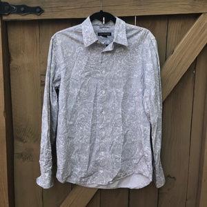 Express white paisley button down shirt size S